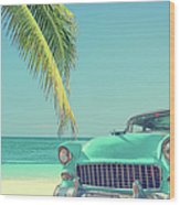 Classic Car On A Tropical Beach With Wood Print