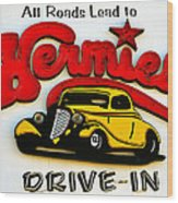 Classic Drive In Sign Wood Print