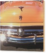Classic Ford Car Hood Peach Wood Print