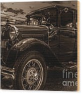 Classic Ford - Sepia Wood Print