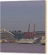 Classic Full Moon And Ferries Panorama Wood Print