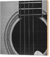 Classic Guitar In Black And White Wood Print