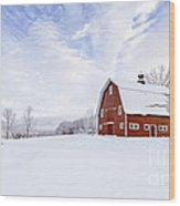 Classic New England Red Barn In Winter Wood Print