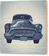 Classic Old Car On Vintage Background Wood Print