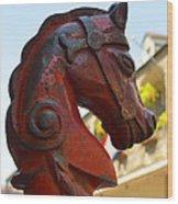 Classic Red Horsehead Post Wood Print
