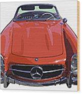 Classic Red Mercedes Benz 300 Sl Convertible Sportscar  Wood Print