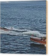 Classic Runabouts At Dusk Wood Print