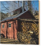 Classic Vermont Maple Sugar Shack Wood Print