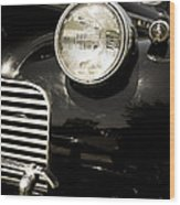 Classic Vintage Car Black And White Wood Print