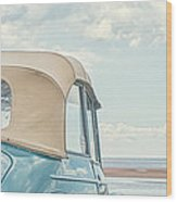 Classic Vintage Morris Minor 1000 Convertible At The Beach Wood Print