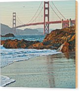 Classic - World Famous Golden Gate Bridge With A Scenic Beach And Birds. Wood Print