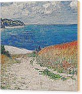 Claude Monet's Path In The Wheat Fields At Pourville-1882 Wood Print