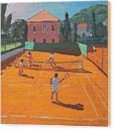 Clay Court Tennis Wood Print