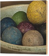 Clay Marbles In Bowl Wood Print