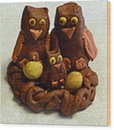 Clay Owl Family Wood Print