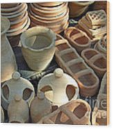 Clay Pots And Other Containers Wood Print