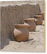 Clay Pots At Huaca Pucllana In Lima Peru Wood Print