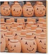 Clay Pumpkins Standing Happy Near The Wood Fence Wood Print