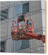 Cleaning Skyscraper Window And Wall With Snorkel Singapore Wood Print