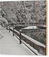 Clear Creek Winter Wood Print