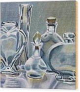 Clear Glass Bottles Wood Print