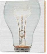 Clear Light Bulb Wood Print
