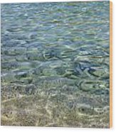 Clear Water And Pebbles Wood Print