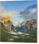 Clearing Storm - Yosemite National Park From Tunnel View. Wood Print