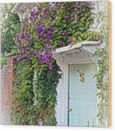 Clematis Around The Door Wood Print