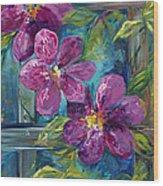 Clematis Turquoise Garden Wood Print