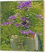 Clematis Vine On Mailbox Photo Art Wood Print
