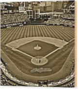 Cleveland Baseball In Sepia Wood Print
