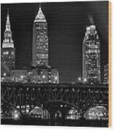 Cleveland Black And White Night Wood Print