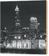 Cleveland Black Night Wood Print