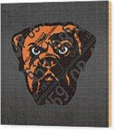 Cleveland Browns Football Team Retro Logo Ohio License Plate Art Wood Print