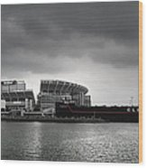 Cleveland Browns Stadium From The Inner Harbor Wood Print