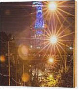Cleveland Downtown Street View At Night Wood Print