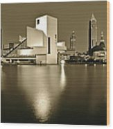 Cleveland In Sepia Wood Print
