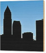 Cleveland In Silhouette Wood Print by Frozen in Time Fine Art Photography