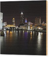 Cleveland Lakefront Nightscape Wood Print
