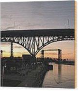 Cleveland Ohio Flats At Sunset Wood Print