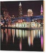 Cleveland Panoramic Reflection Wood Print