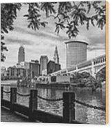 Cleveland River Cityscape Wood Print