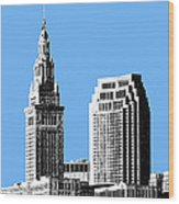 Cleveland Skyline 1 - Light Blue Wood Print by DB Artist