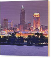 Cleveland Skyline At Night Evening Panorama Wood Print