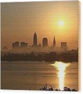 Cleveland Skyline At Sunrise Wood Print by Daniel Behm