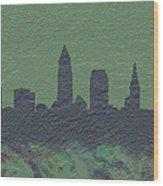 Cleveland Skyline Brick Wall Mural Wood Print