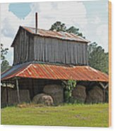 Clewis Family Tobacco Barn Wood Print by Suzanne Gaff