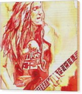 Cliff Burton Playing Bass Guitar Portrait.1 Wood Print