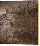 Cliff Face Northshore Mn Bw Wood Print